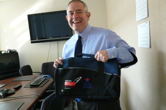 Records Express Blogger and Director of the Modern Records Programs Paul Wester showing this year's RACO bag